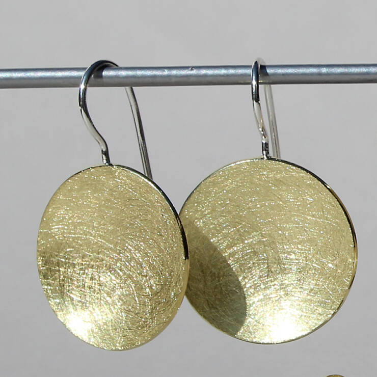 Drop Silver Circle Gold Plate Earrings