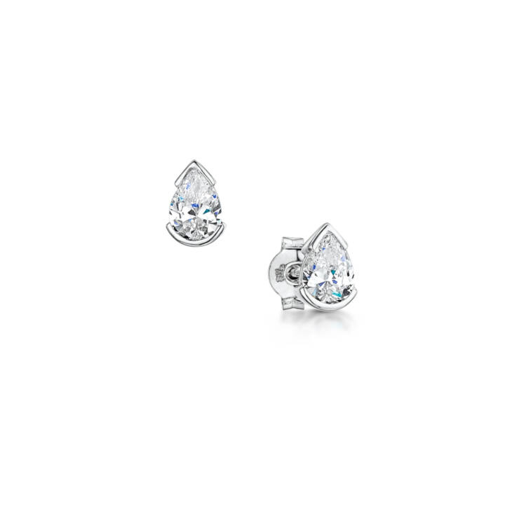 Pear Shape Half Bezel Diamond Earrings