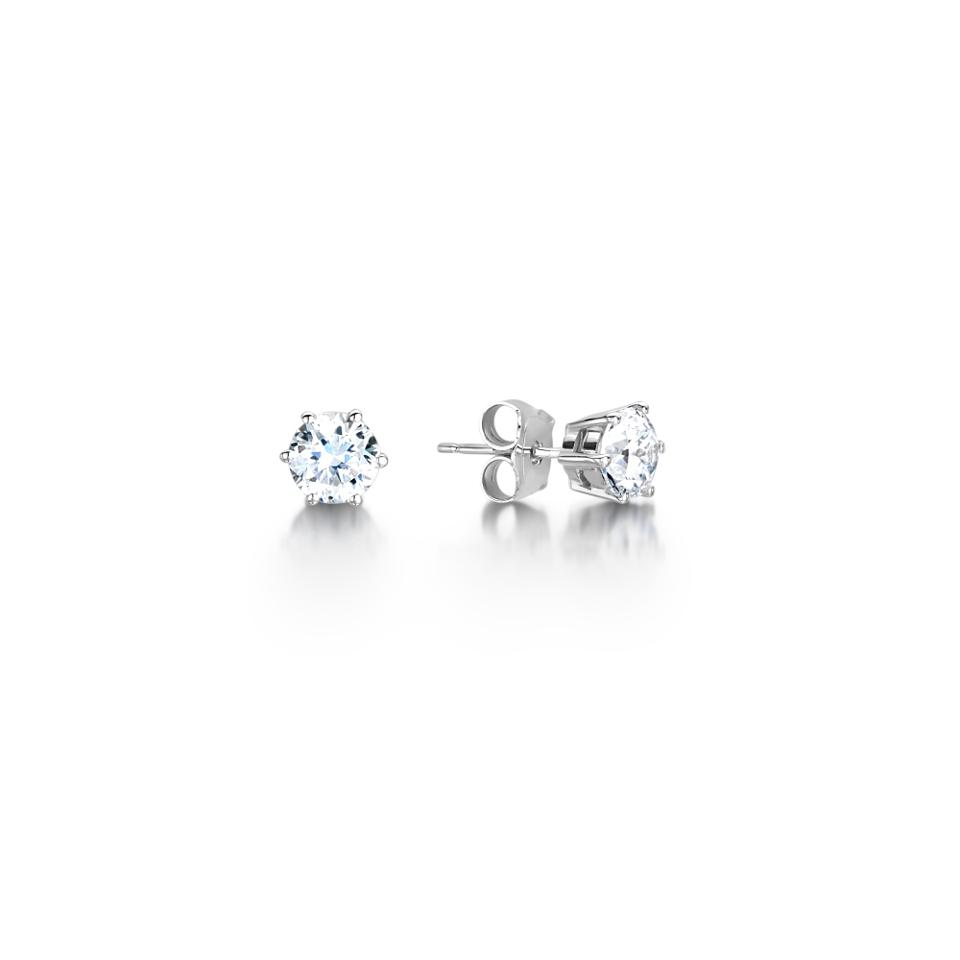 Diamond 6 Claw Earrings