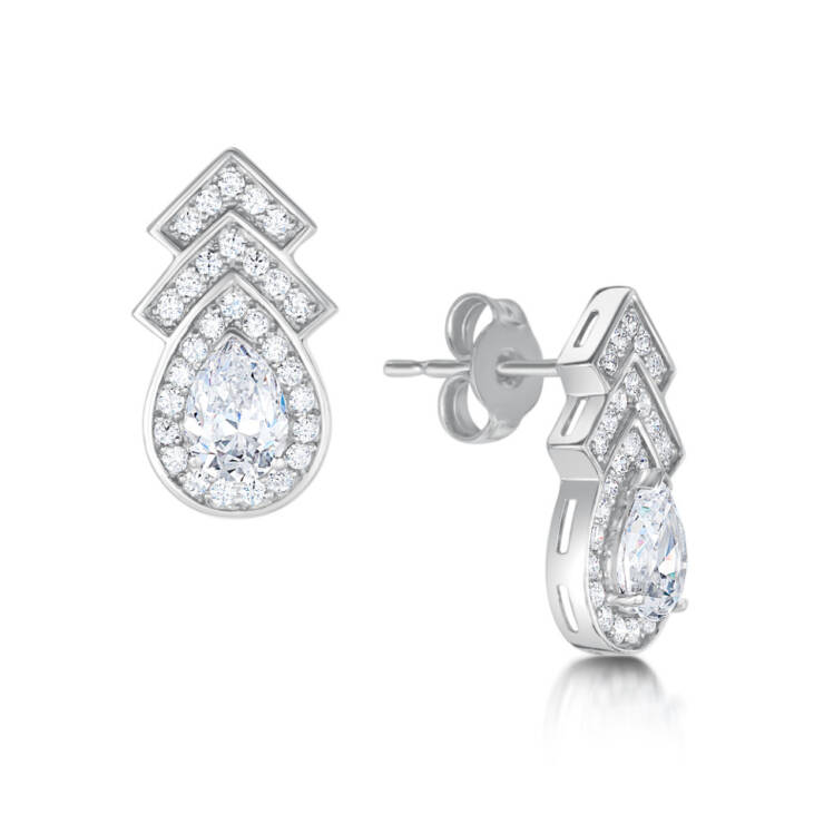 Pave Halo Drop Earring