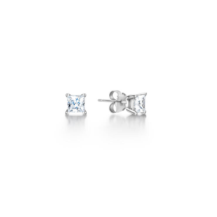 Princess Cut 4 Claw Earring