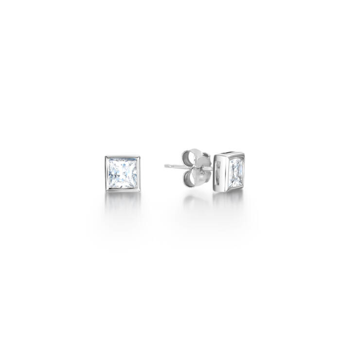 Princess Full Bezel Diamond Earrings