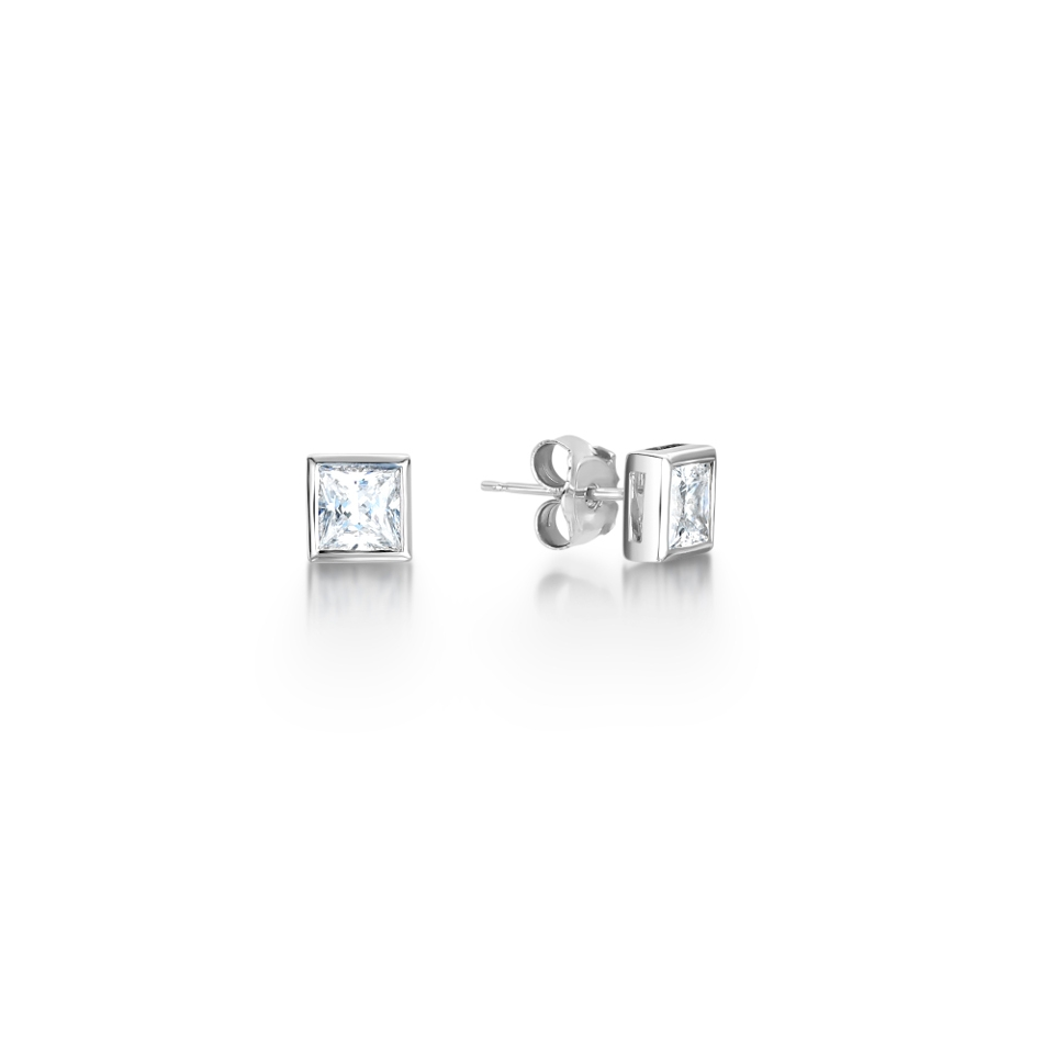 Princess Full Bezel Diamond Earrings