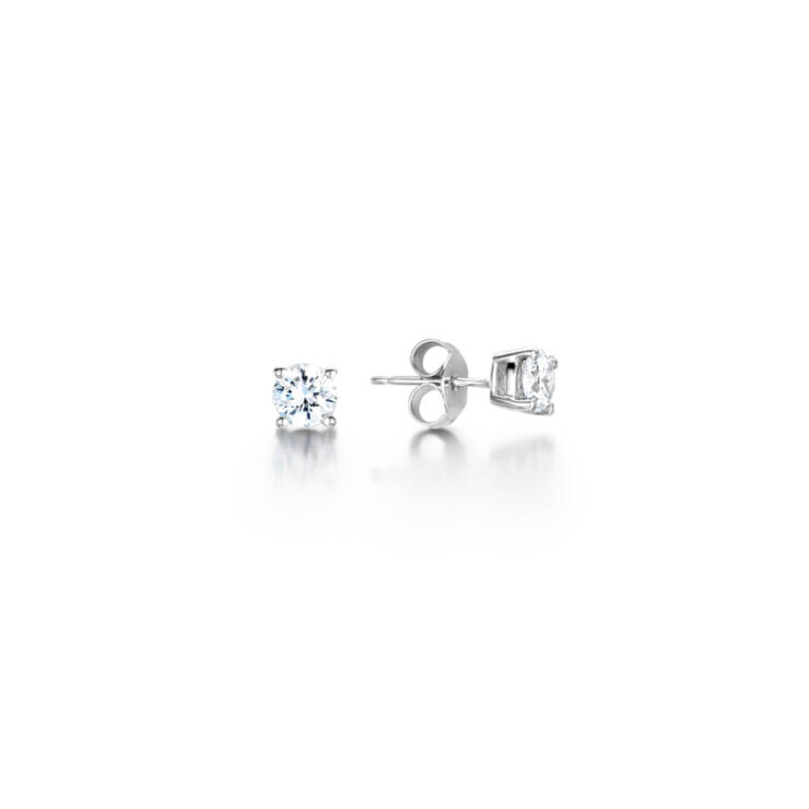 Diamond 4 Claw Stud Earrings