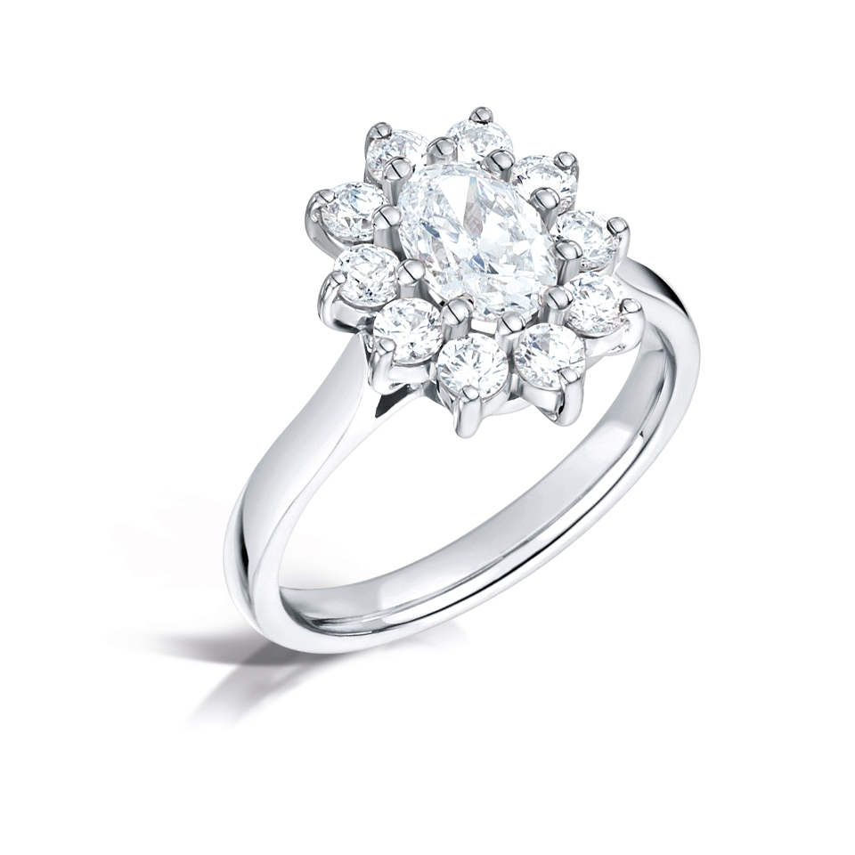 18ct white gold oval cluster