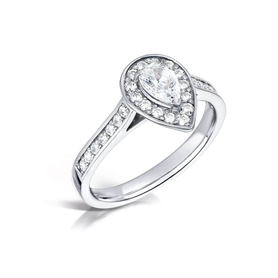Pear Shaped Halo with Pave Shoulders