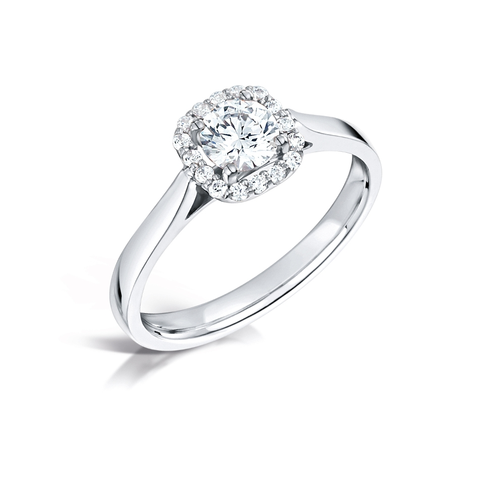 18 carat white gold halo ring
