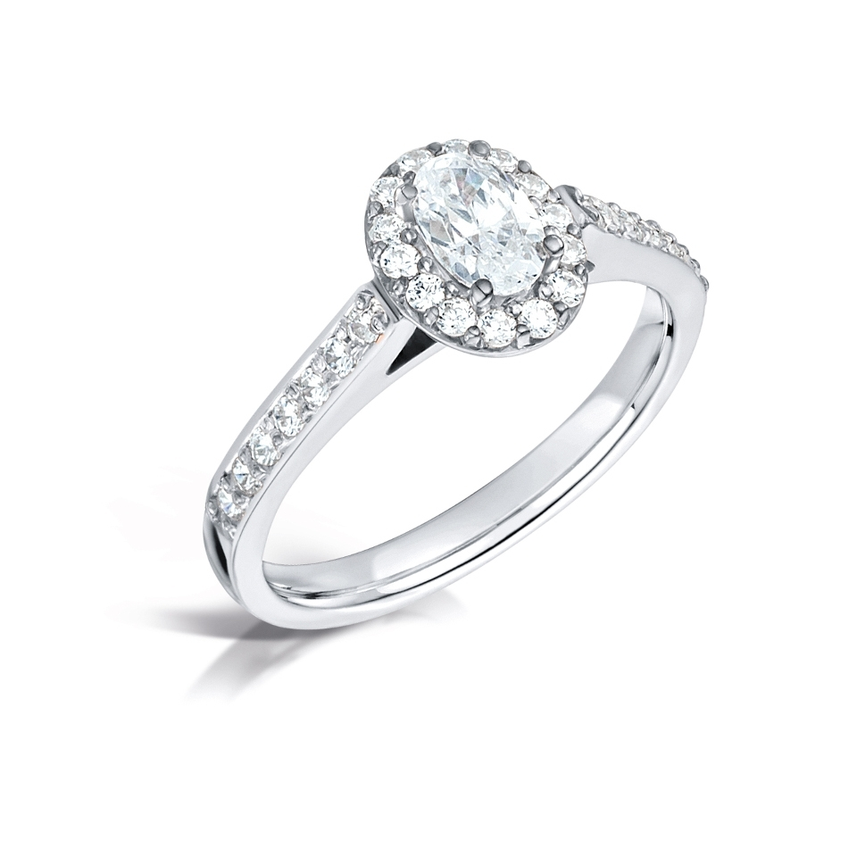 Oval Halo with Pave Shoulders