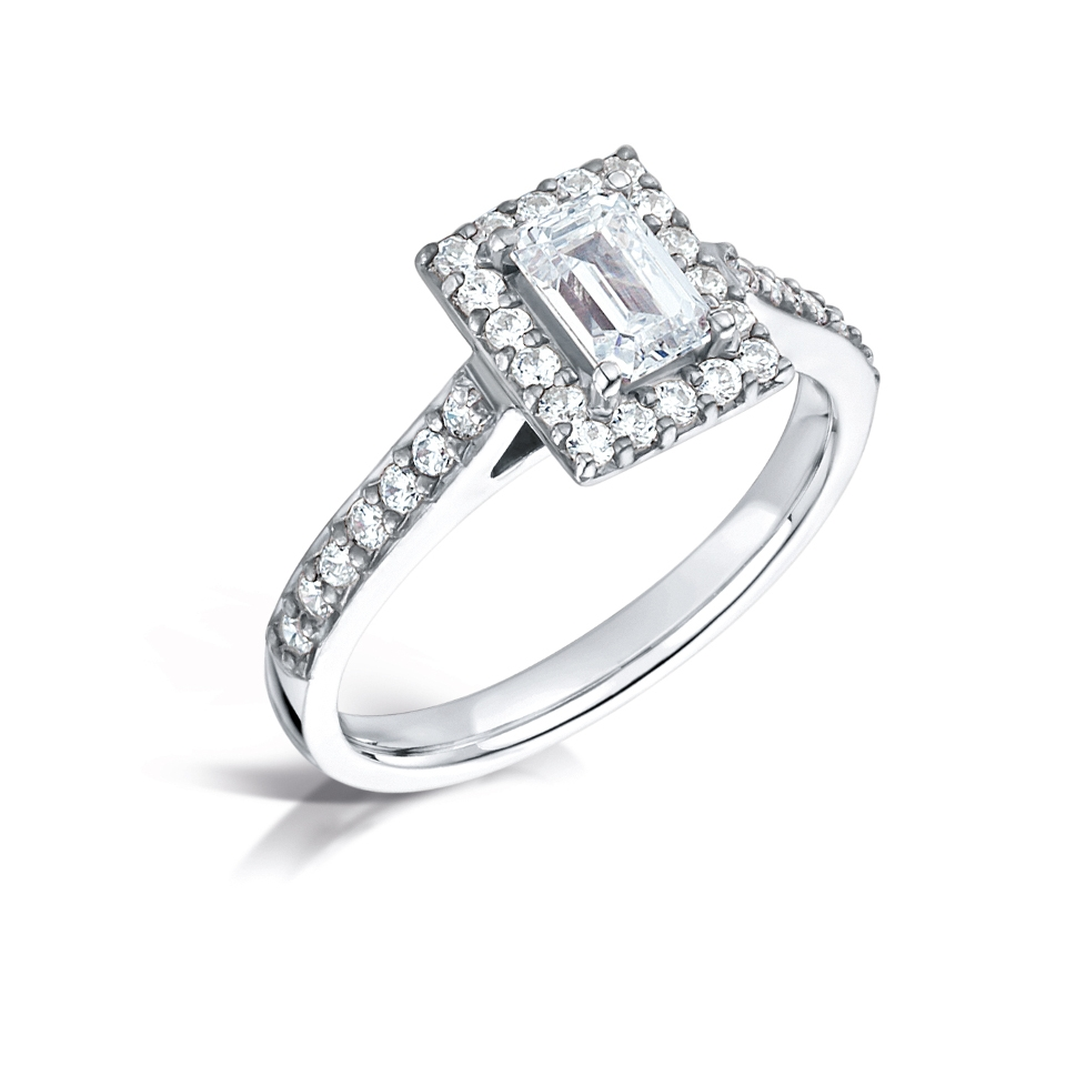 Emerald Cut Halo Ring with pave shoulders