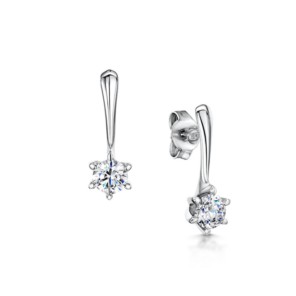 Diamond 6 claw drop earring